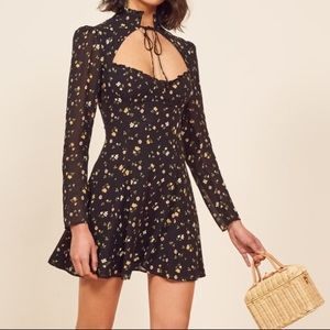 Reformation | NWT Vivianne black floral mini dress